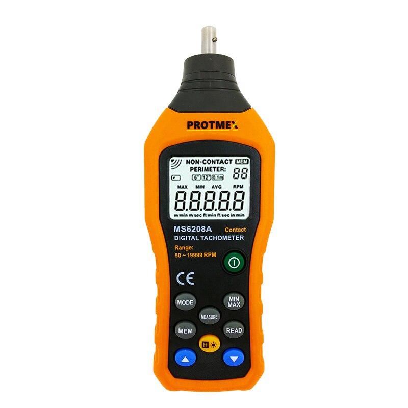 Цифровой тахометр Контактное измерение скорости Тахометр 50-19999 ОБ/мин измеритель скорости контакт тахометр RPM метр MS6208A