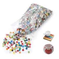 300 Uds. Mosaico de vidrio cuadrado de Color sólido azulejos de mosaico de Material artístico y artesanal azulejo de mosaico para pasatiempos creativo hacer rompecabezas de niños 10MM