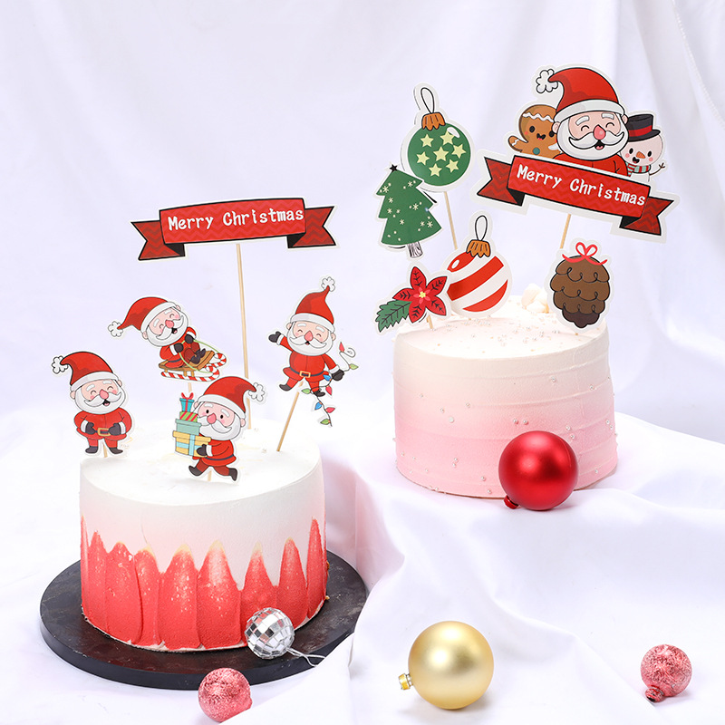 Enjoyable Merry Christmas Cake Topper Santa Claus Christmas Tree Snowman Personalised Birthday Cards Petedlily Jamesorg