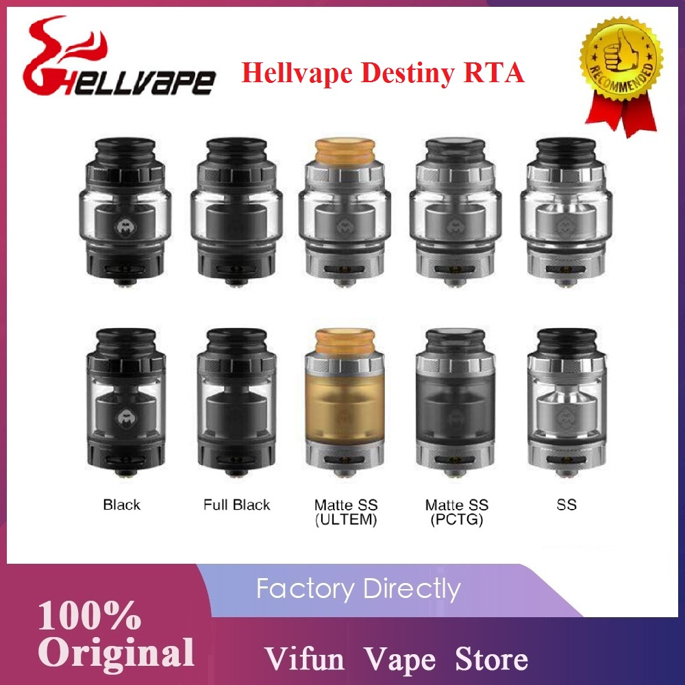Newest! 2ml/4ml Original Hellvape Destiny RTA Wi/ Single Coil Building 510 Drip Tip 24mm Diameter E-cig Atomizer VS Dead Rabbit