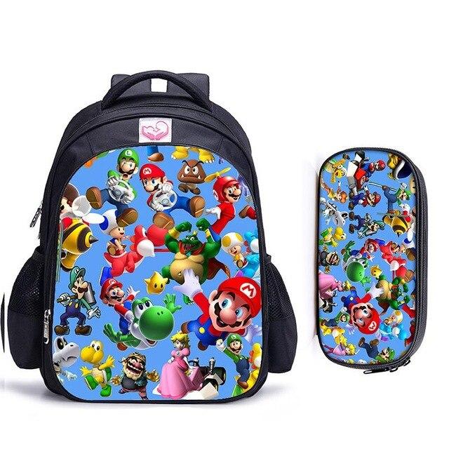 16 Inch Mario Sonic Boom Hedgehogs Children School Bags Orthopedic Backpack Kids School Boys Mochila Infantil Catoon Bags