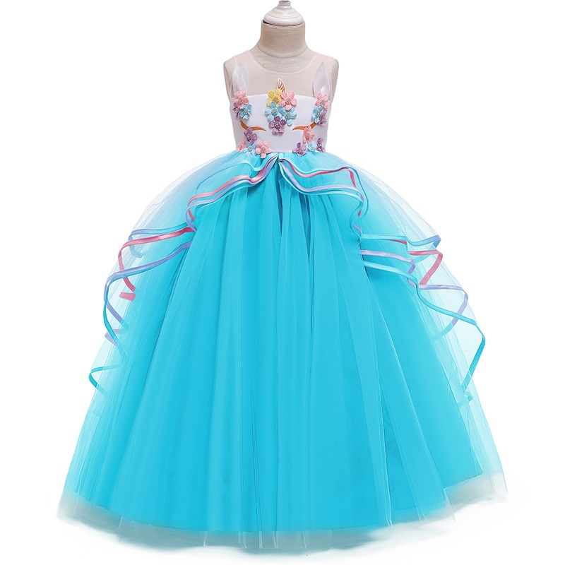 Fancy Baby Girl Rainbow Unicorn Girls Dress Party Elegant Children Kids Long Tutu Gown Princess Dresses Teen Girl 10 12 14 Years 4