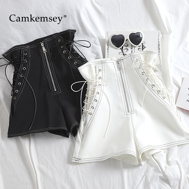 CamKemsey Streetwear Lace Up Bandage Motorcycle Shorts Women 2020 Spring Summer Casual High Waist Wide Leg Sexy Club Hot Shorts