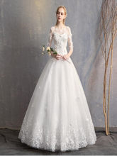 White Applique Flower Wedding dress Lace Full Length Ball Gown Long Sleeves Bridal werdding dress(China)