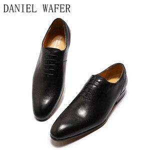 Image 2 - Design de mode hommes Oxford en cuir véritable chaussures noir marron à lacets pointu bureau de mariage de luxe hommes chaussures habillées pour chaussures