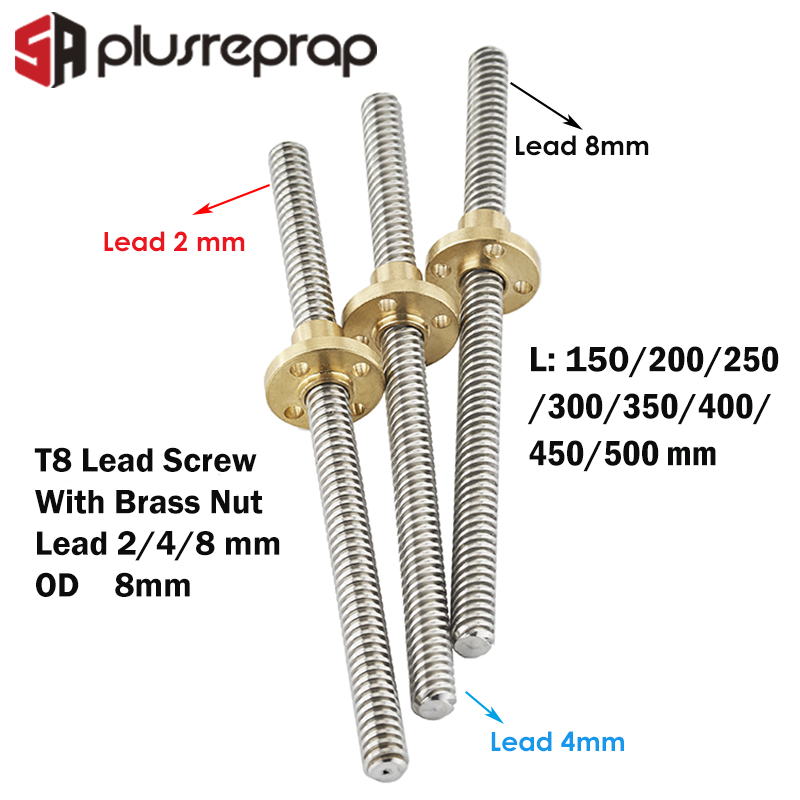 Vite stampante 3D T8 250mm Lead Screw 8mm Thread 2mm Pitch Lead Screw Brass nut