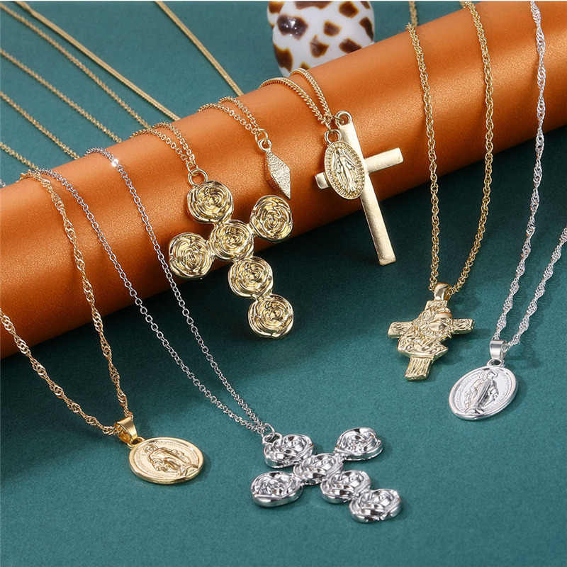 Moda w stylu Vintage wielowarstwowe Choker naszyjnik Choker komunikat maryi panny monety kryształowy krzyż naszyjnik religia biżuteria