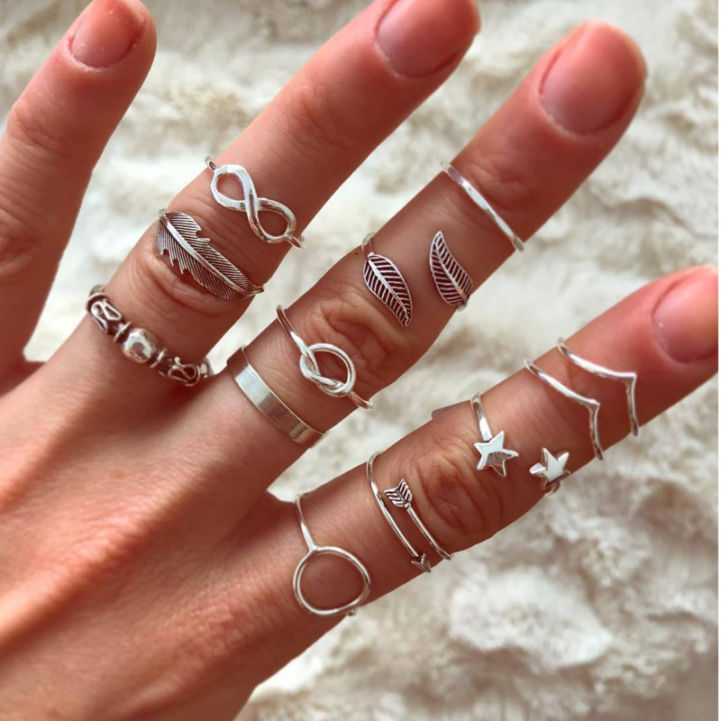 22Styles Vintage Rings Set For Women Boho Moon Star Knuckle Finger Ring Female Bohemian Gold Silver Color Jewelry Accessories(China)