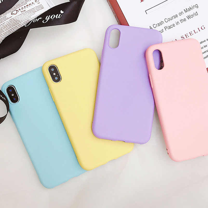 Funda de teléfono mate Color caramelo para iPhone 7 Plus 6 6s 8 5S SE para iPhone XS MAX X XR 11 pro Simple sólido suave TPU fundas contraportada