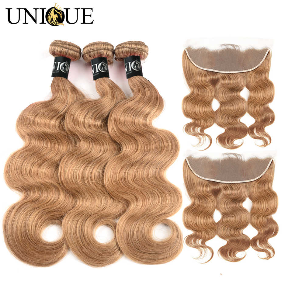Blonde Body Wave Bundles With Closure Frontal Honey Blond Body Wave Bundles With Frontal Bleached Human Hair with Frontal