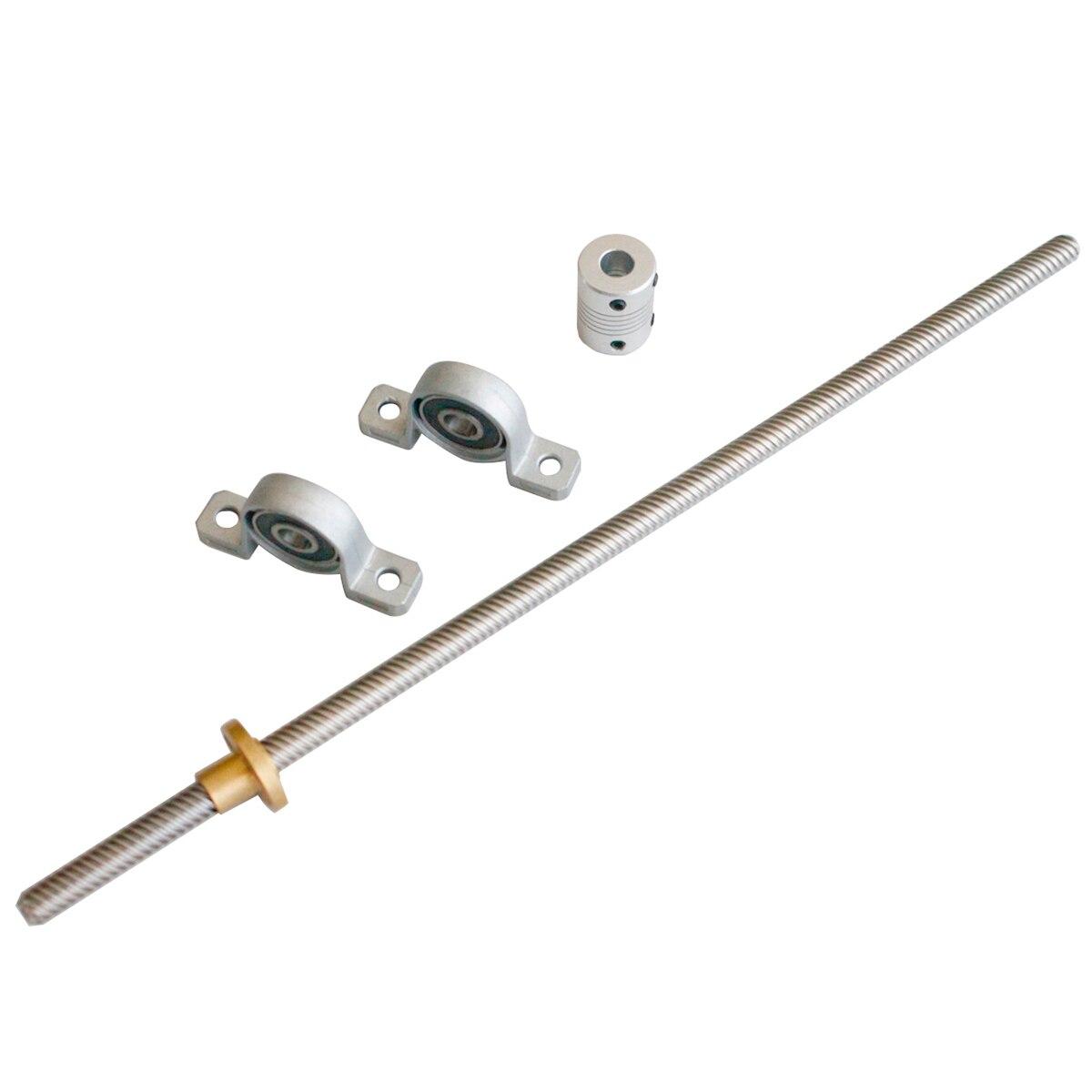 T8 2mm com Porca de Parafuso de Avanço 150-1200mm & Suporte do rolamento & 5*8 KP08 mm acoplamento flexível 3D peças da impressora
