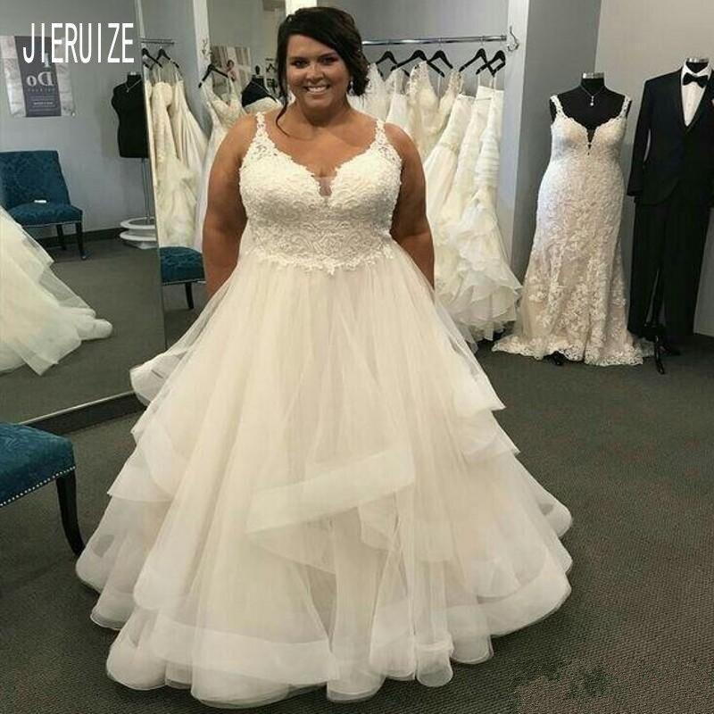 JIERUIZE Plus Size Beach Wedding Dresses Spaghetti Tiered Skirts Lace Appliques Bridal Gown Vestidos De Novia Wedding Gowns