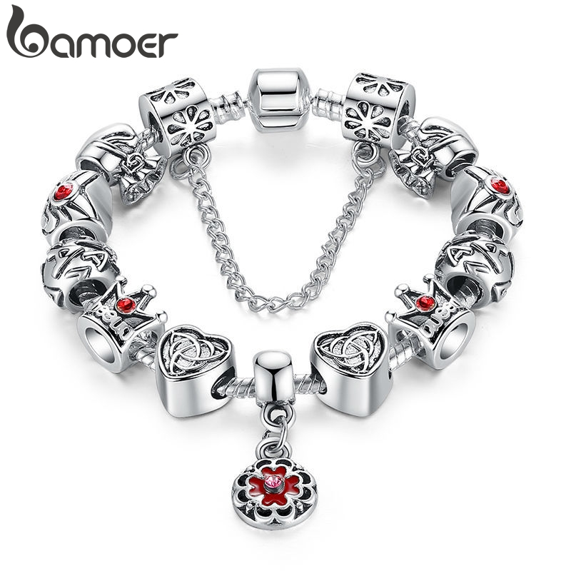 BAMOER Vintage Heart Crown Bead Charm Bracelet Silver Color for Women Original Safety Chain Jewelry PA1430(China)