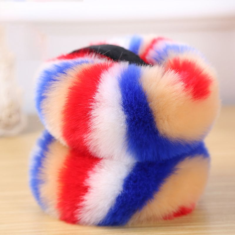 2020 New Women Winter Fluffy Plush Earmuffs Rainbow Colorful Stripes Collapsible Headband