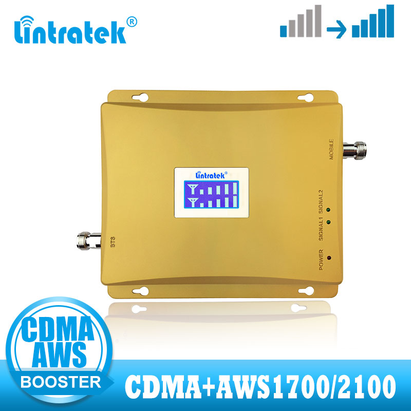 Lintratek 4G Signal Booster GSM CDMA 850 Dual Band Cellular Mobile LTE AWS 1700/2100 FDD Band 4 4G Signal Repeater Amplifier
