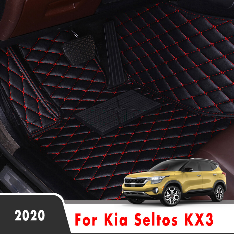 Car Floor Mats For Kia Seltos KX3 2020 Auto Styling Custom Waterproof Decoration Leather Carpets Interior Accessories Foot Pads