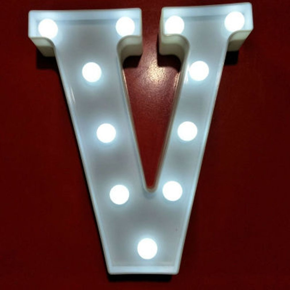 English Letter V Light 3D Wall Hanging Night Light Home Wedding Birthday Party Decor