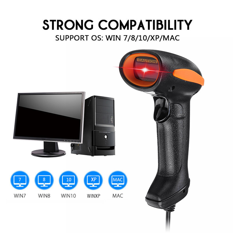 USB Handheld Barcode Scanner 2D/1D QR Code Receipt Handheld Wired Laser Barcode Scanner Scan Guns Reader Bar Code Reader image
