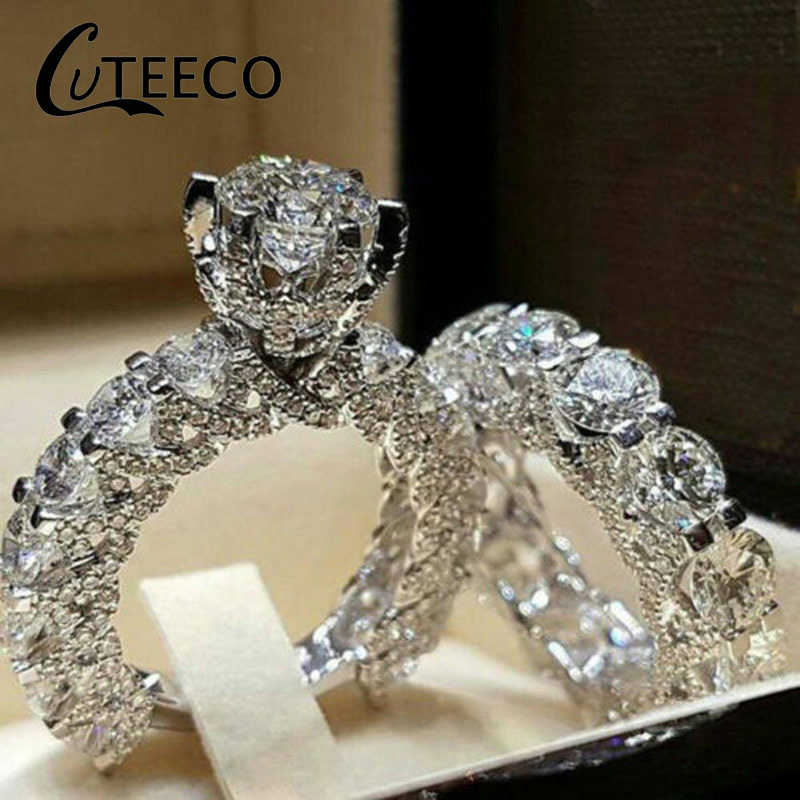 Cuteeco 2019 New Fashion Dazzling Silver Natural Jewelry White Rings Set Bride Wedding Engagement Jewelry Ring Size 5 6 7 8 9 10