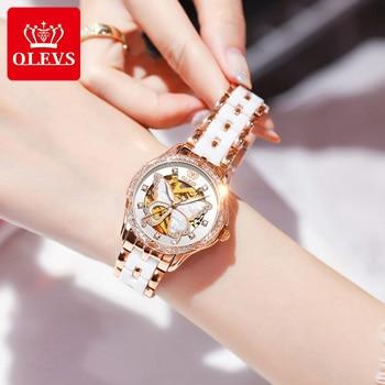 OLEVS Top Brand Mechanical Women Watch Fashion Switzerland Luxury Brand Ladies Wrist Watch Automatic Leather Strap Gift 1