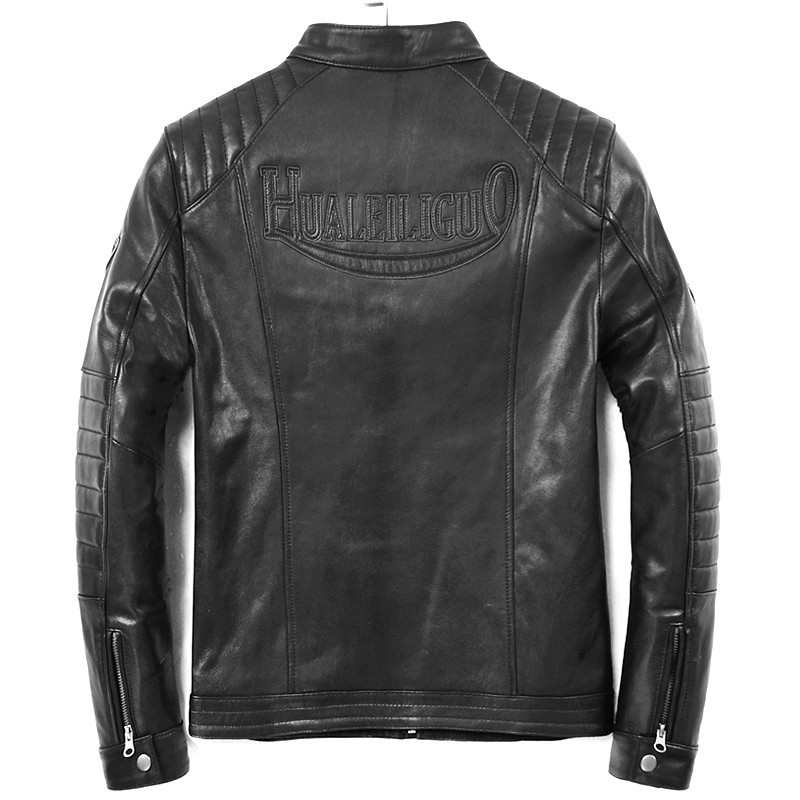 Geniune Men Sheepskin Leather Jacket Short Slim Motocycle Spring Autumn Jaqueta De Couro HL-019 MF113