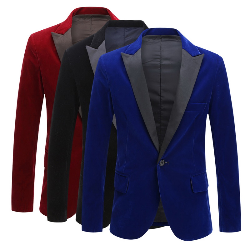 OEAK Autumn And Winter Goose Down Fashion Casual Blazer Men's Velvet Slim Fit Peaked Lapel Tuxedo Suit One Button Jacket