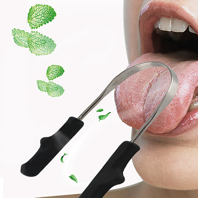 Wholesale Stainless Steel Tongue Cleaner Scraper Oral Care Bad Breath Sweeper Health Tool For Oral Hygiene Drop Ship