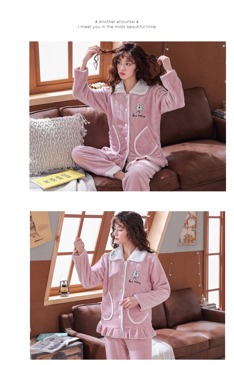 Plus Size 3XL 4XL 5XL Pajamas for women 2019 Winter Thicken Flannel pyjamas Long-sleeve lovely Sleepwear Coral Fleece Nightgowns 157