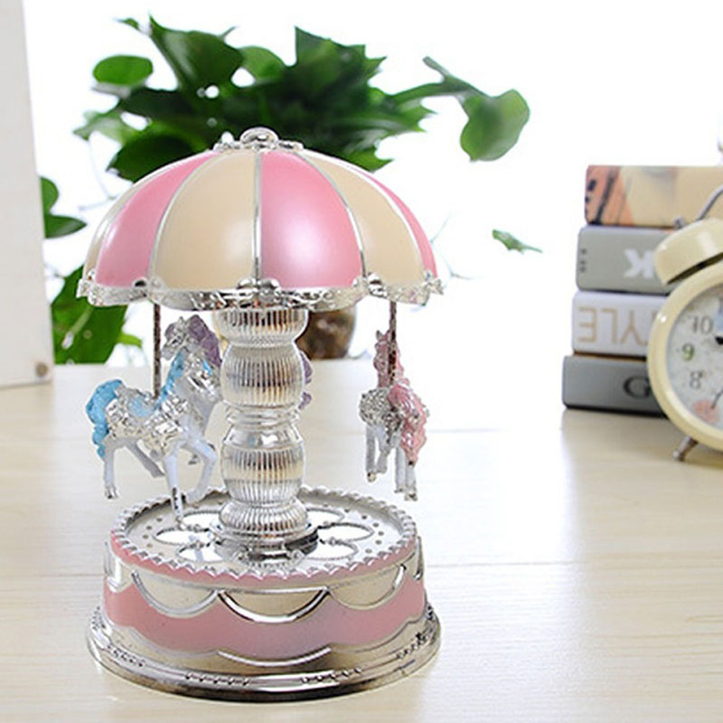 Exquisite Music Box 3 LED Light Birthday Gift Kids Toy Wedding Christmas Carousel Music Box Merry Go Round Colorful