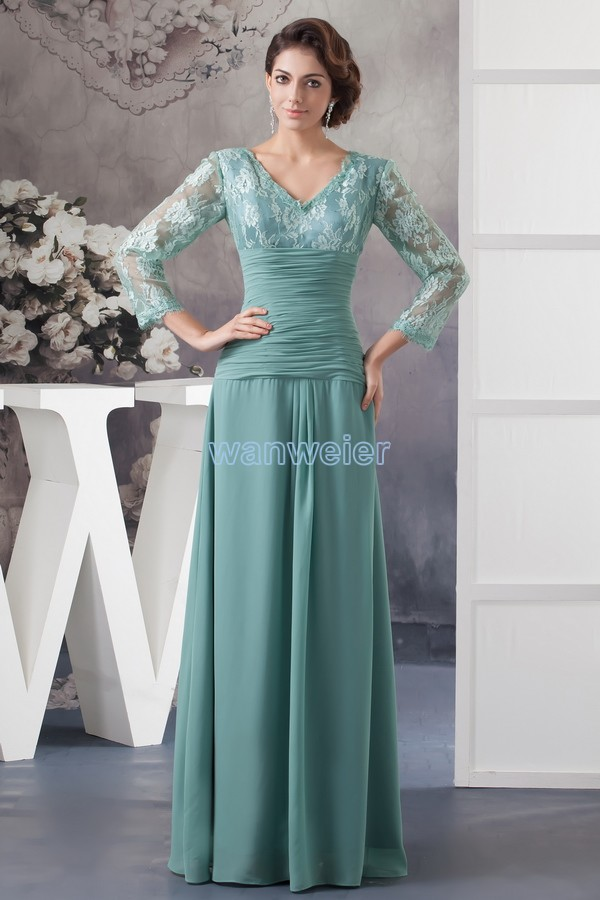Free Shipping 2014 New Design Hot Custom Color/size Gown Cap Sleeve V-neck Long Sleeve Women Chiffon Mother Of The Bride Dresses