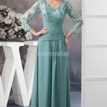 free shipping 2014 new design hot custom color/size gown cap sleeve v-neck long sleeve women chiffon