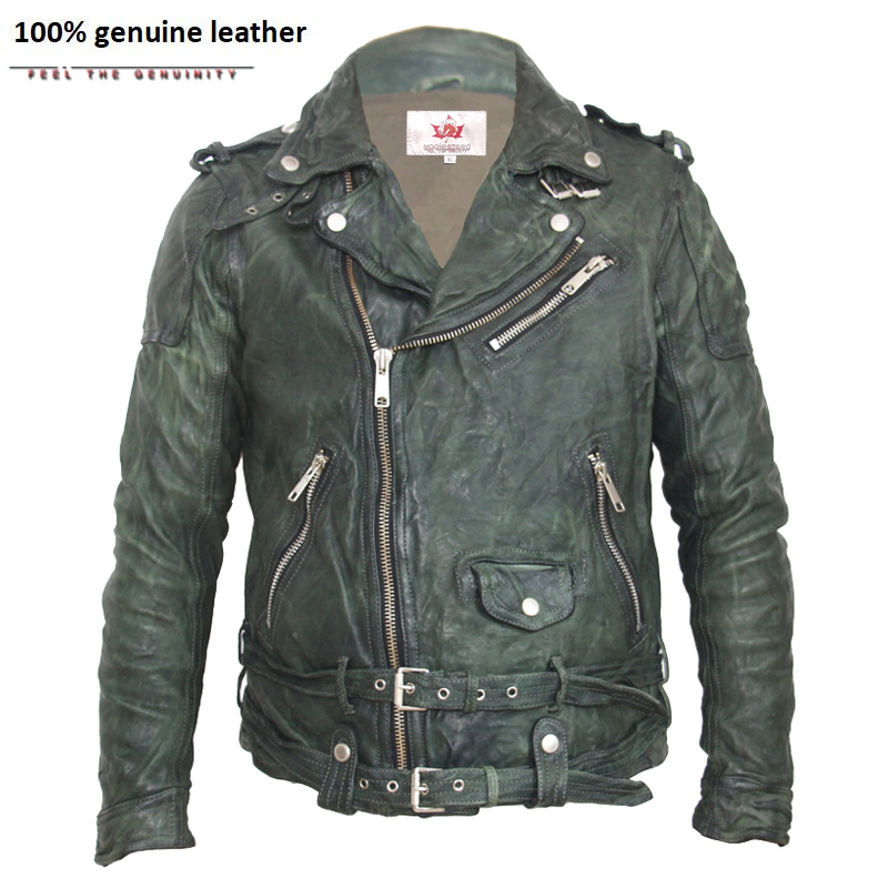 Vintage Tanned Leather Jacket Black Red Green Slim Leather Coat Winter Men's Motocycle Jacket Moto Biker Clothing 145