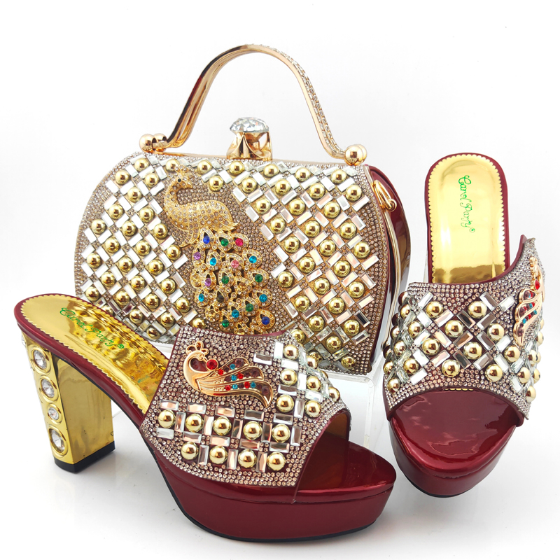 Nice italian shoes matching bag set for african aso ebi party high heel 4 inches slippers shoes and bag maroon SB8469-8