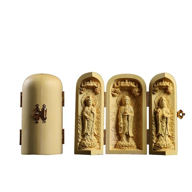 Boxwood Carving Buddha Statue Three Western Sages Guanyin Wood Buddha Shrine Fu Lu Shou Sculpture Three Open Box Home Decor 5