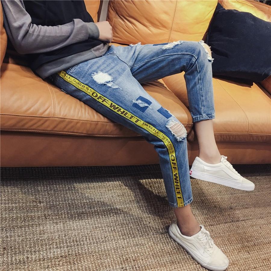 New Style MEN'S Jeans Men's Teenager Korean-style Webbing Fashion Slim Fit With Holes Cowboy Pants Japanese-style Capri Pants Me