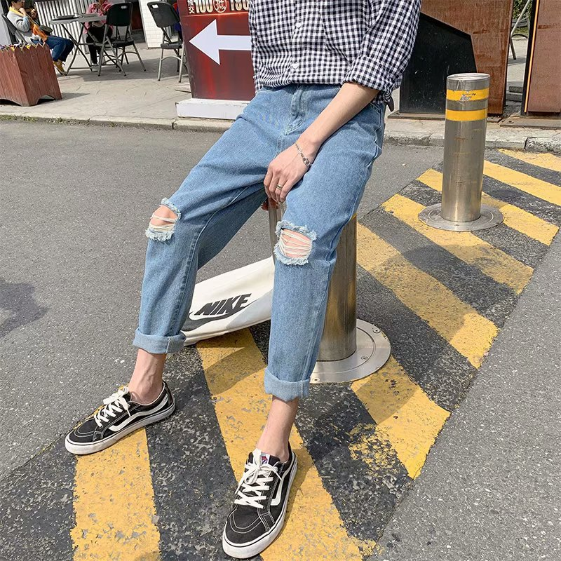 Summer Jeans Men's With Holes Slim Fit Korean-style Trend Popular Brand Washing Capri Skinny 9 Points Pants Men's Thin
