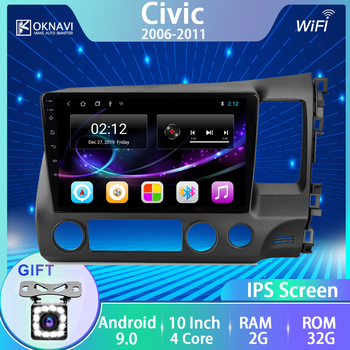 OKNAVI Car Radio For Honda Civic 2006-2011 Left Right Multimedia DVD Player 10 Android 9.0 GPS Navigation & Rear View Camera image