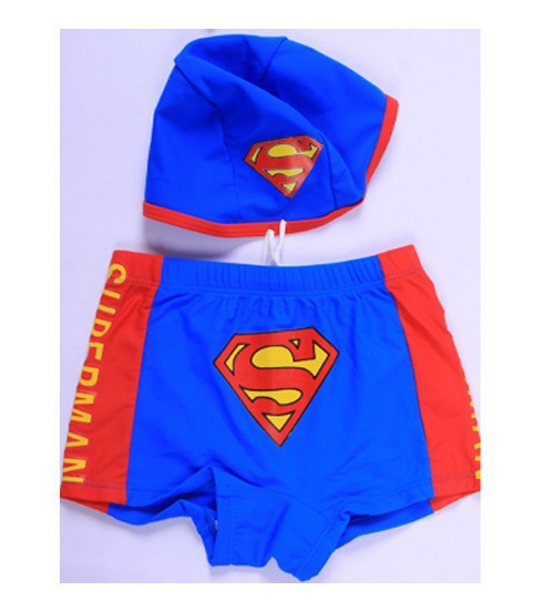 New Style Cute CHILDREN'S Swimsuit Set BOY'S Small Superman Swimming Trunks Swimming Cap Boy Swimming Trunks 1-10-Year-Old