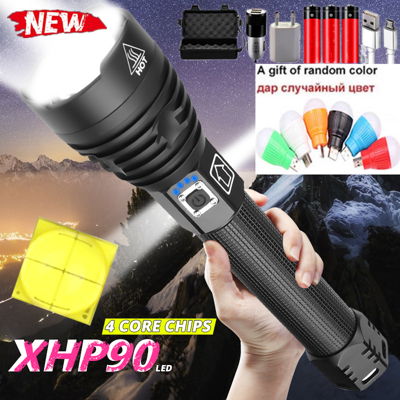 9000LM 2020 Latest Powerful XHP90.2 LED Flashlight Zoom Torch XHP70 USB Rechargeable Waterproof Lamp use 18650 26650 Camping