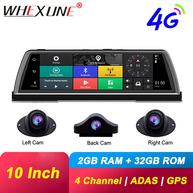 WHEXUNE 4G Android araba dvrı çizgi kam 4 Lens 10 inç navigasyon ADAS GPS WiFi Full HD 1080P Video kaydedici 2GB + 32GB araç kamerası