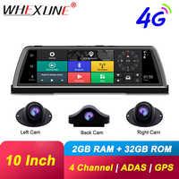 WHEXUNE 4G Android coche DVR cámara de salpicadero 4 lente de 10 pulgadas de navegación ADAS GPS WiFi Full HD 1080P HD grabadora de vídeo 2GB + 32GB de la cámara del vehículo