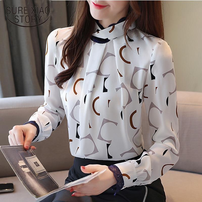 Nouvelle fashion2019 automne camisa mujer manga larga mode coréenne vêtements chemisier femme nouvelle collection chemisier blanc 6790 50