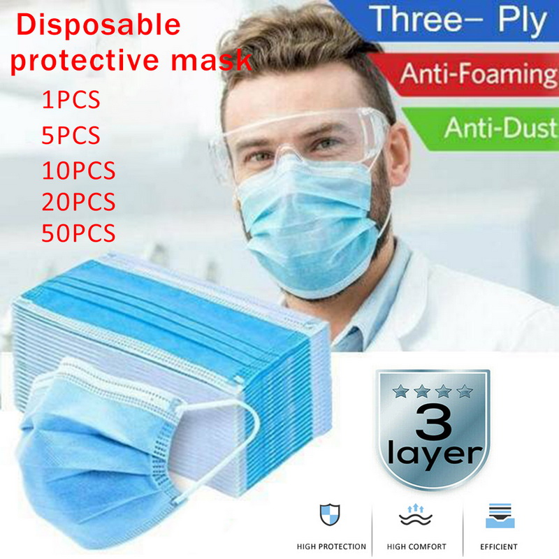 20/50pcs Disposable Earloops Face Masks 3 Layers  Mouth Covers Protection Anti Dust Breathable Mask