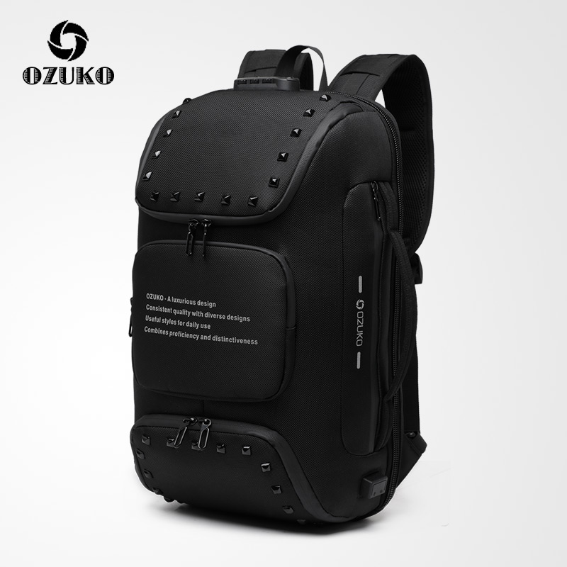 NEW OZUKO Multifunctional Backpack Men 15.6 Inch Anti-theft Laptop Backpack Lock Design Business Travel Male Waterproof Mochilas