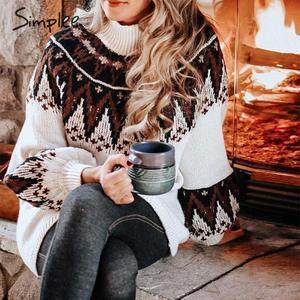 Image 2 - Simplee Geometrischen druck gestrickten kleid frauen Casual schildkröte neck pullover pullover kleid weibliche Herbst winter retro weiß vestidos