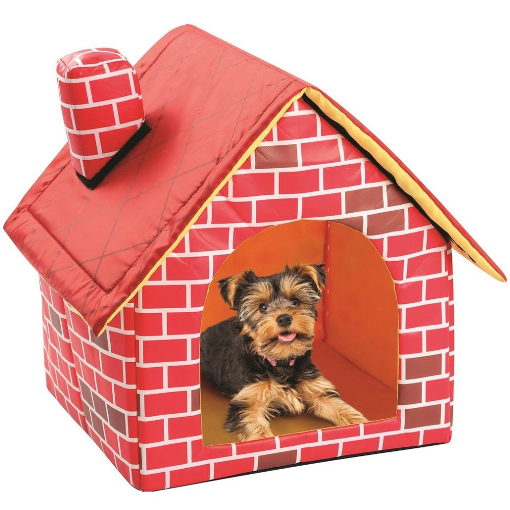 Portable Brick Pet House With Chimney Warm And Cozy Dog Cat Bed Detachable Washable Pet Tent Suitable For All Seasons Cushion 1