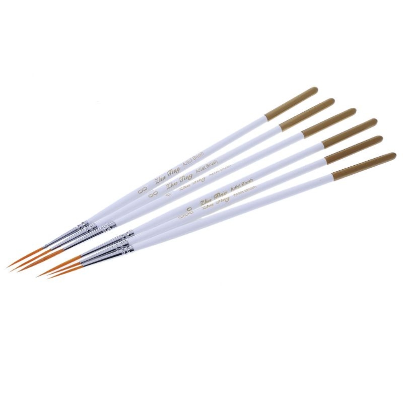 6Pcs Round Brush Hook Line Pen Artist Nylon Hair Paint Set Draw Painting Craft in Brush from Tools