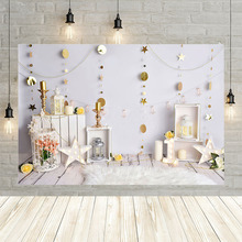 Avezano 1st Birthday Photography Background Wooden Floor Star Gold Dots Baby Portrait Backdrop for Photo Studio Photocall Props