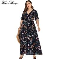 Floral Boho Beach Dress Plus Size Women Summer V Neck Ruffles Short Sleeve Flower Maxi Long Dresses Belted Ladies Tunic Dress