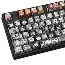 108 Key caps Dye Sublimation PBT OEM Profile Ahegao Japanese Anime Keycaps for Cherry Gateron Kailh Switches Mechanical Keyboard